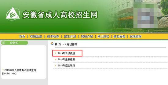 2019年安徽成人高考成绩查询2